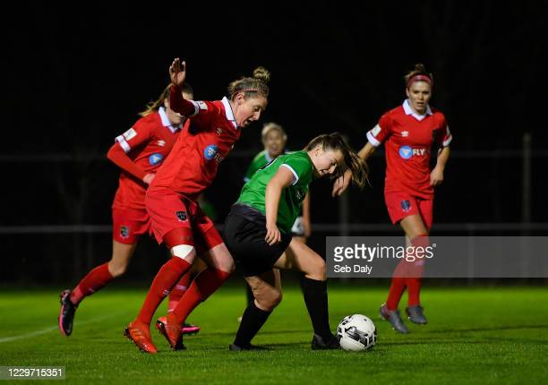 Dublin , Ireland - 21 November 2020; Eleanor Ryan-Doyle of Peamount United in action against Jess Gleeson of Shelbourne during the Women's National...