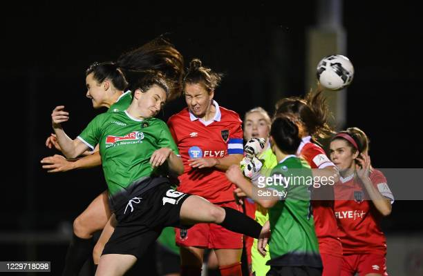 Dublin , Ireland - 21 November 2020; Karen Duggan of Peamount United heads to score her side's second goal during the Women's National League match...