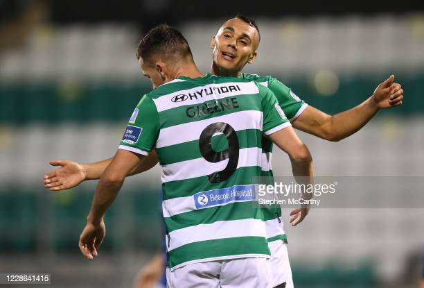 Dublin Ireland 21 September 2020 Aaron Greene celebrates with his Shamrock Rovers teammate Graham Burke right after scoring his side's opening goal...