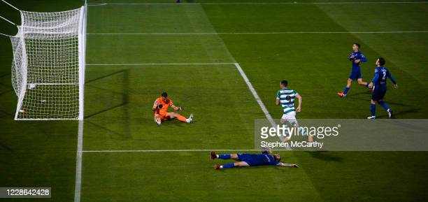 Dublin Ireland 21 September 2020 Aaron Greene of Shamrock Rovers scores his side's first goal past Waterford goalkeeper Brian Murphy during the SSE...
