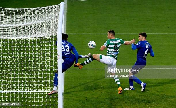 Dublin Ireland 21 September 2020 Aaron Greene of Shamrock Rovers in action against Tunmise Sobowale left and Jake Davidson of Waterford during the...