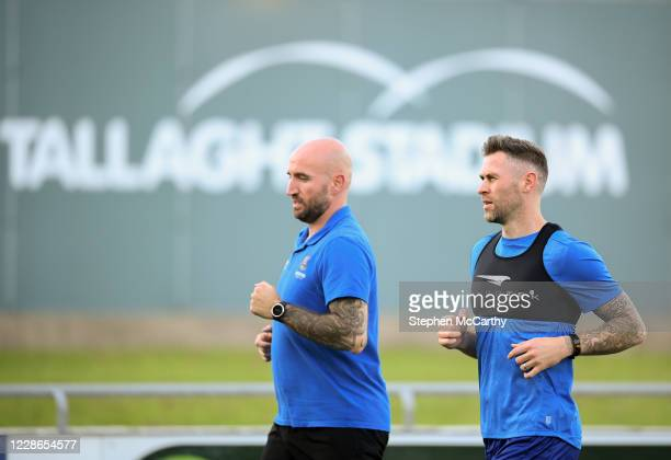 Dublin Ireland 21 September 2020 Daryl Murphy of Waterford goes through some running alongside strength conditioning coach Joey O'Brien prior to the...