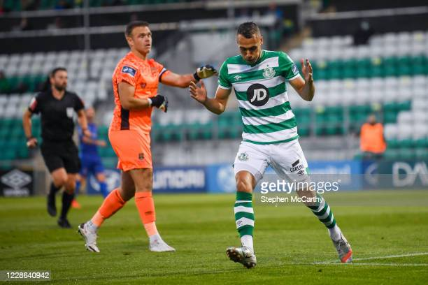 Dublin Ireland 21 September 2020 Graham Burke of Shamrock Rovers reacts to a missed opportunity on goal during the SSE Airtricity League Premier...