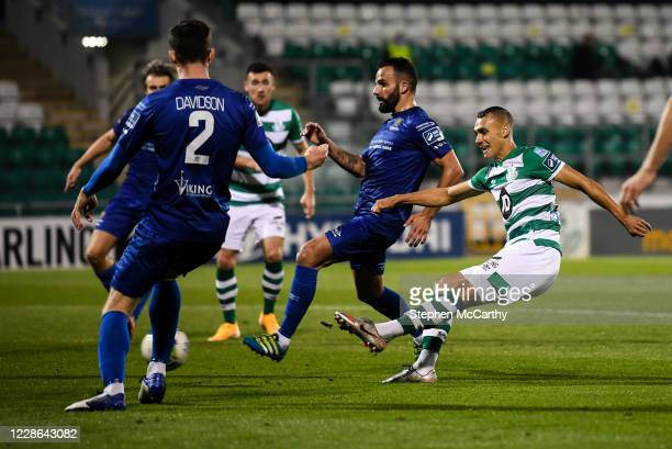 Dublin Ireland 21 September 2020 Graham Burke of Shamrock Rovers shoots to score his side's fifth goal during the SSE Airtricity League Premier...