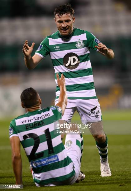 Dublin Ireland 21 September 2020 Jack Byrne right congratulates his Shamrock Rovers teammate Graham Burke on scoring their fifth goal during the SSE...
