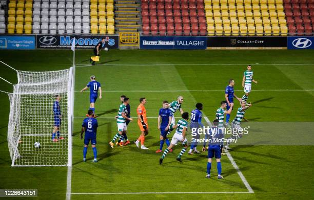Dublin Ireland 21 September 2020 Lee Grace of Shamrock Rovers celebrates after scoring his side's third goal during the SSE Airtricity League Premier...