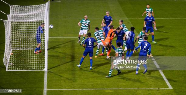 Dublin Ireland 21 September 2020 Lee Grace of Shamrock Rovers heads his side's third goal during the SSE Airtricity League Premier Division match...