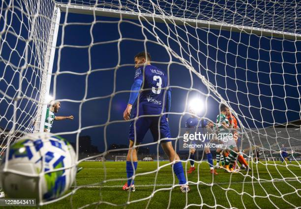 Dublin Ireland 21 September 2020 Lee Grace of Shamrock Rovers scores his side's third goal during the SSE Airtricity League Premier Division match...