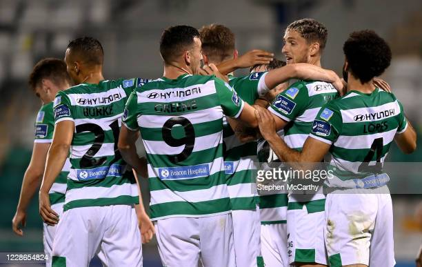 Dublin Ireland 21 September 2020 Lee Grace second from right celebrates with Shamrock Rovers teammates after scoring their third goal during the SSE...