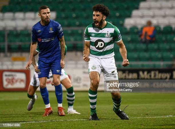 Dublin Ireland 21 September 2020 Roberto Lopes of Shamrock Rovers celebrates after scoring his side's second goal during the SSE Airtricity League...