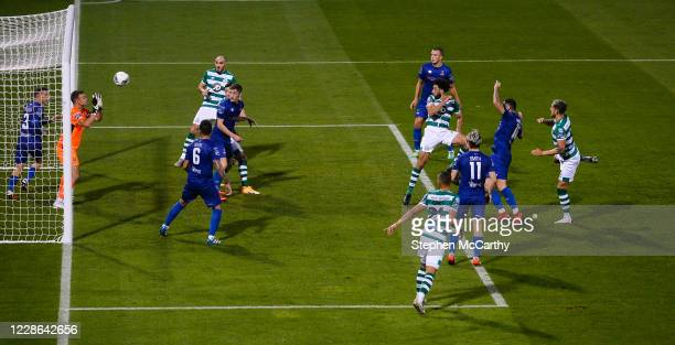 Dublin Ireland 21 September 2020 Roberto Lopes of Shamrock Rovers heads his side's second goal during the SSE Airtricity League Premier Division...
