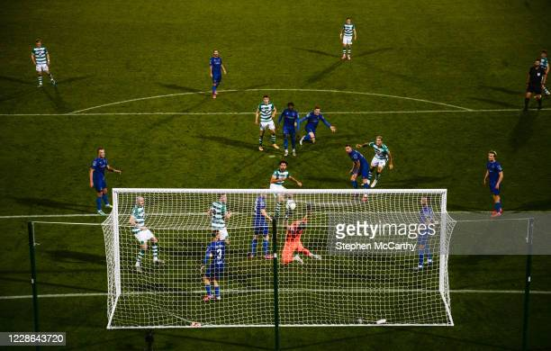 Dublin Ireland 21 September 2020 Roberto Lopes of Shamrock Rovers scores his side's second goal past Waterford goalkeeper Brian Murphy during the SSE...