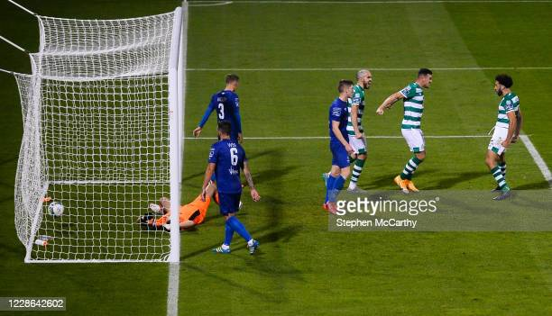 Dublin Ireland 21 September 2020 Roberto Lopes right celebrates with his Shamrock Rovers teammate Aaron Greene after scoring his side's second goal...