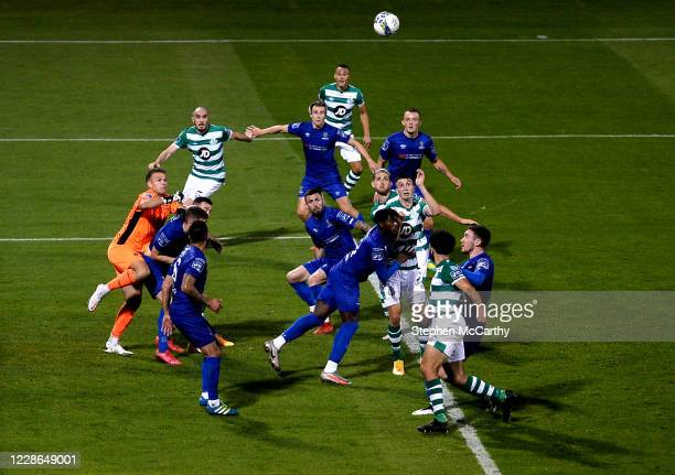 Dublin Ireland 21 September 2020 Shamrock Rovers and Waterford players watch a Shamrock Rovers corner come into the box during the SSE Airtricity...