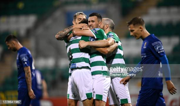 Dublin Ireland 21 September 2020 Shamrock Rovers players including Aaron Greene celebrate after Roberto Lopes scored their second goal during the SSE...
