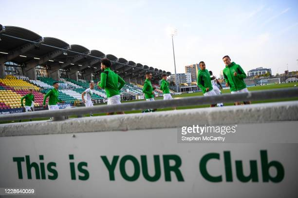 Dublin Ireland 21 September 2020 Shamrock Rovers players warm up prior to the SSE Airtricity League Premier Division match between Shamrock Rovers...