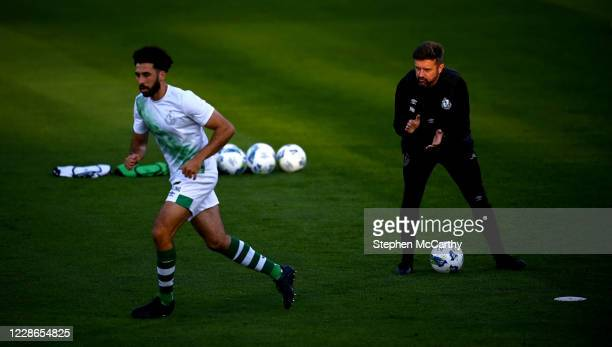 Dublin Ireland 21 September 2020 Shamrock Rovers sporting director Stephen McPhail and Roberto Lopes left prior to the SSE Airtricity League Premier...