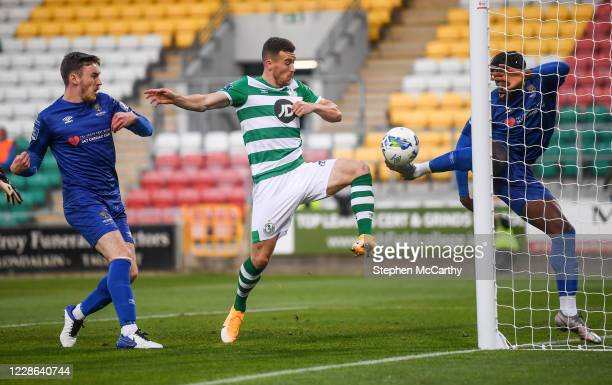 Dublin Ireland 21 September 2020 Tunmise Sobowale of Waterford clears a goal bound attempt from Aaron Greene of Shamrock Rovers during the SSE...