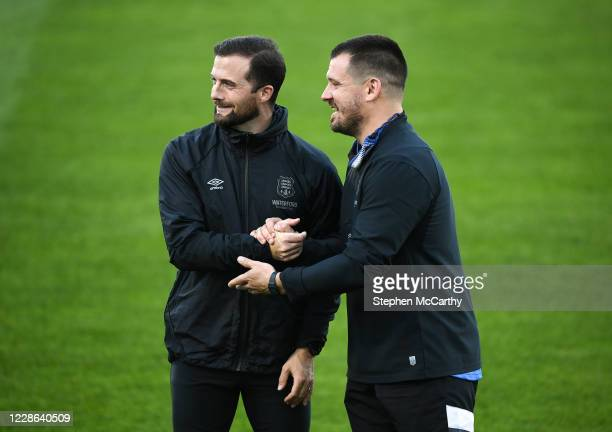 Dublin Ireland 21 September 2020 Waterford coaches Fran Rockett left and John Frost prior to the SSE Airtricity League Premier Division match between...