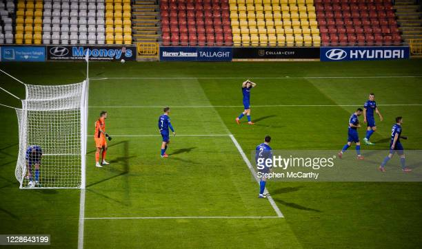 Dublin Ireland 21 September 2020 Waterford players react after conceding their third goal during the SSE Airtricity League Premier Division match...