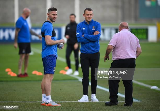 Dublin Ireland 21 September 2020 Waterford's Daryl Murphy left and Michael O'Connor with match delegate Dick Redmond prior to the SSE Airtricity...