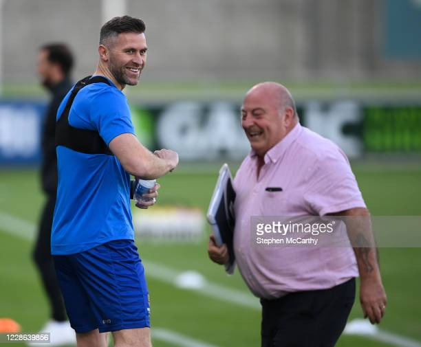 Dublin Ireland 21 September 2020 Waterford's Daryl Murphy shares a laugh with match delegate Dick Redmond prior to the SSE Airtricity League Premier...