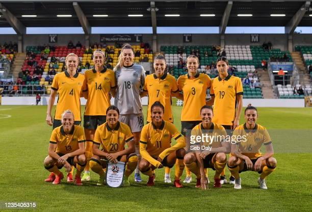 Dublin , Ireland - 21 September 2021; The Australia team, back row, from left, Clare Polkinghorne, Alanna Kennedy, Mackenzie Arnold, Steph Catley,...