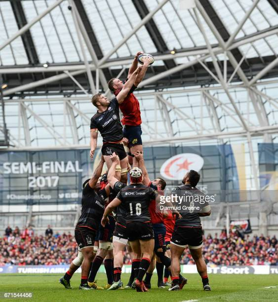 Dublin Ireland 22 April 2017 Donnacha Ryan of Munster wins possession in a lineout ahead of George Kruis of Saracens during the European Rugby...