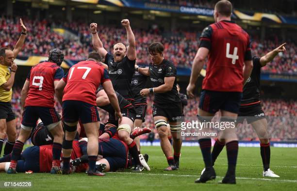 Dublin Ireland 22 April 2017 Vincent Koch of Saracens celebrates as referee Romain Poite awards Saracens their 1st try during the European Rugby...