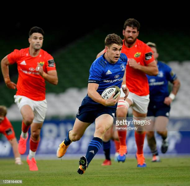Dublin , Ireland - 22 August 2020; Garry Ringrose of Leinster during the Guinness PRO14 Round 14 match between Leinster and Munster at the Aviva...