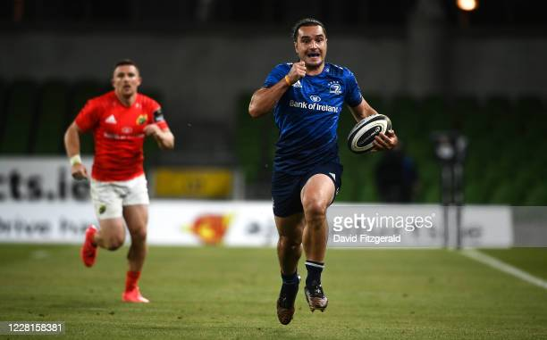 Dublin , Ireland - 22 August 2020; James Lowe of Leinster on his way to scoring his side's third try during the Guinness PRO14 Round 14 match between...