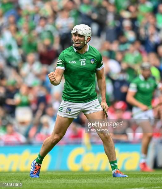Dublin , Ireland - 22 August 2021; Aaron Gillane of Limerick celebrates after scoring his side's second goal during the GAA Hurling All-Ireland...