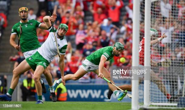 Dublin , Ireland - 22 August 2021; Limerick goalkeeper Nickie Quaid is beaten by Shane Kingston of Cork for Cork's goal in the 4th minute of the...