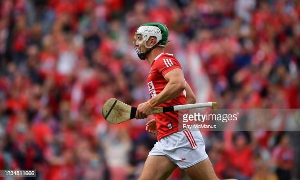 Dublin , Ireland - 22 August 2021; Shane Kingston of Cork celebrates scoring Cork's goal in the 4th minute of the first half during the GAA Hurling...