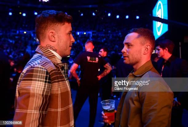 Dublin , Ireland - 22 February 2020; Boxer Carl Frampton, right, and MMA fighter James Gallagher at Bellator Dublin in the 3 Arena, Dublin.