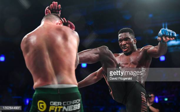 Dublin , Ireland - 22 February 2020; Iamik Furtado, right, and Kiefer Crosbie during their contract weight bout at Bellator 240 in the 3 Arena,...