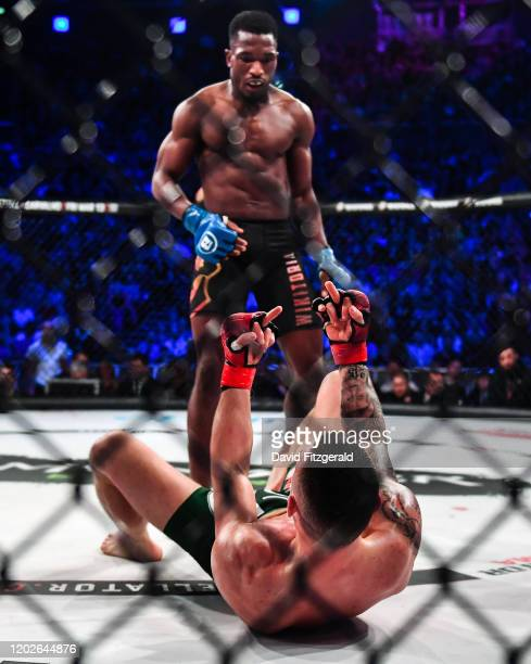 Dublin , Ireland - 22 February 2020; Kiefer Crosbie, bottom, and Iamik Furtado during their contract weight bout at Bellator 240 in the 3 Arena,...