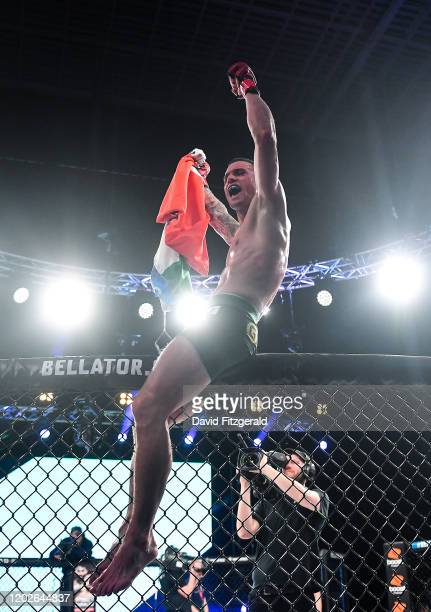 Dublin , Ireland - 22 February 2020; Kiefer Crosbie celebrates after defeating Iamik Furtado in their contract weight bout at Bellator 240 in the 3...