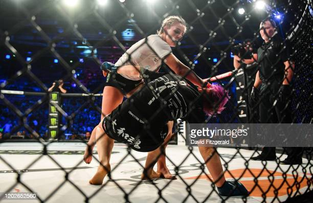 Dublin , Ireland - 22 February 2020; Leah McCourt, top, and Judith Ruis during their women's featherweight bout at Bellator Dublin in the 3 Arena,...