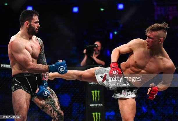 Dublin , Ireland - 22 February 2020; Oliver Enkamp, right, and Lewis Long during their welterweight bout at Bellator 240 in the 3 Arena, Dublin.