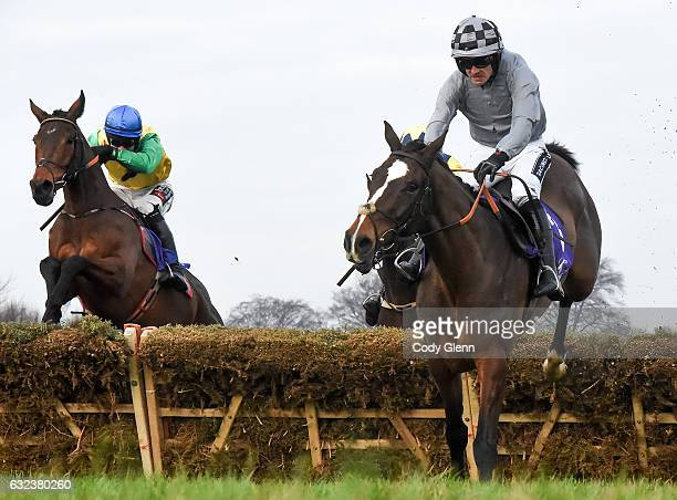 Dublin Ireland 22 January 2017 Eventual winner Justmemyselfandi left with Brian O'Connell up jumps the last behind eventual third placed Capital...