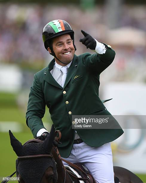 Dublin Ireland 22 July 2016 Cian O'Connor Ireland celebrates a clear round on Good Luck in his team's last run to qualify for a jumpoff against...