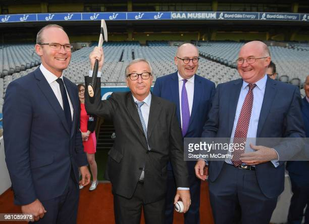 Dublin Ireland 22 June 2018 President of the European Commission JeanClaude Juncker meets Dublin hurling manager Pat Gilroy in the company of...