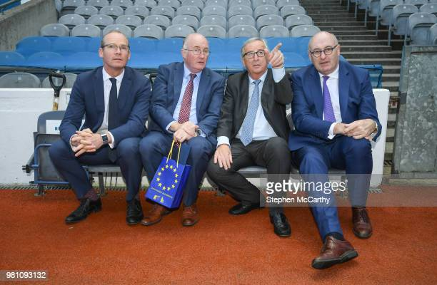 Dublin Ireland 22 June 2018 President of the European Commission JeanClaude Juncker second from right with from left Tánaiste Simon Coveney Uachtarán...