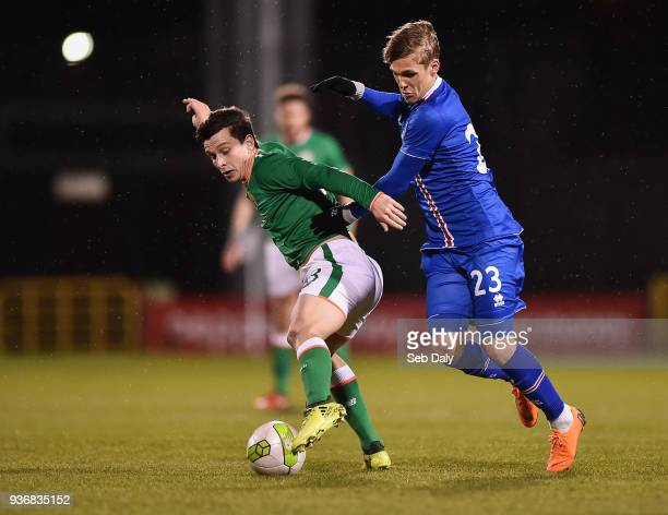 Dublin Ireland 22 March 2018 Connor Dimaio of Republic of Ireland in action against Arnor Sigurdsson of Iceland during the U21 International Friendly...
