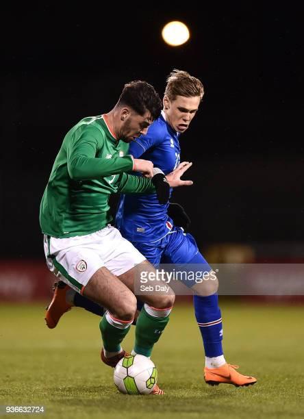 Dublin Ireland 22 March 2018 Joe Quigley of Republic of Ireland in action against Arnor Sigurdsson of Iceland during the U21 International Friendly...