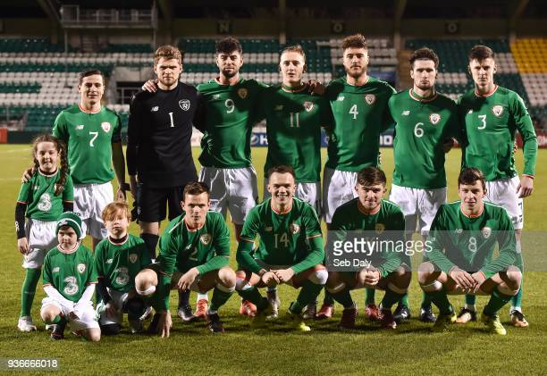 Dublin Ireland 22 March 2018 Republic of Ireland team back row from left Josh Cullen Liam Bossin Joe Quigley Ronan Curtis Ryan Sweeney Corey Whelan...
