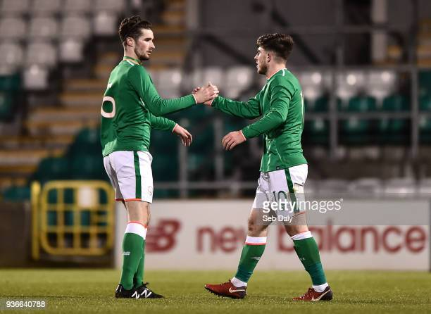 Dublin Ireland 22 March 2018 Ryan Manning of Republic of Ireland right is congratulated by teammate Corey Whelan after scoring his side's second goal...