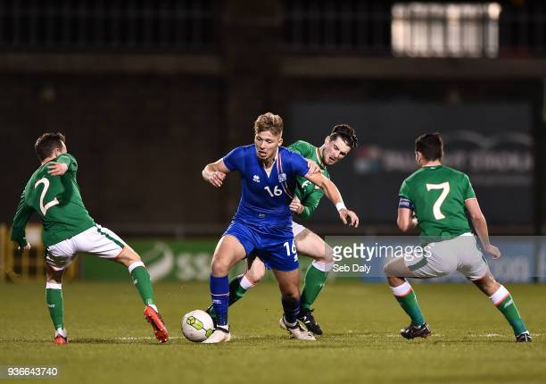 Dublin Ireland 22 March 2018 Stefan Alexander Ljubicic of Iceland in action against Liam Kinsella left Corey Whelan centre and Josh Cullen of...
