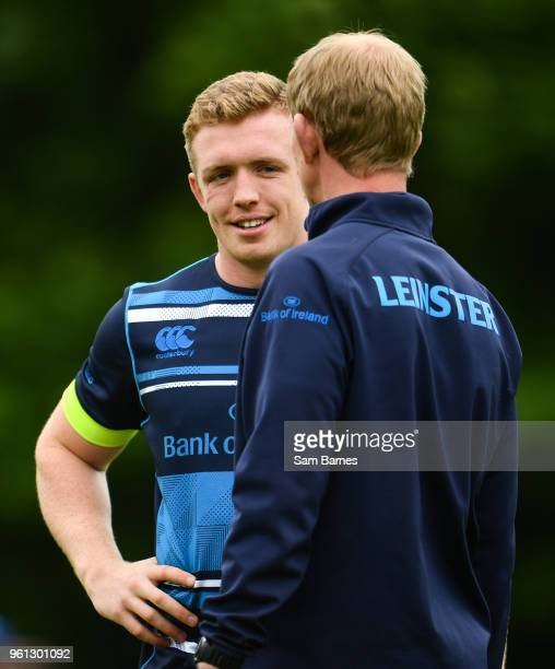 Dublin Ireland 22 May 2018 Dan Leavy left and Leinster head coach Leo Cullen in conversation during Leinster Rugby squad training at UCD in Belfield...